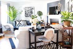 The space blends Teri's colorful, pattern-filled style with Patrick's more modern, minimal approach.