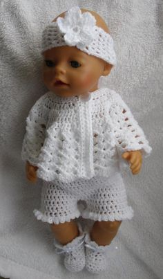 Crochet pattern for 17 inch baby doll – doll clothes Crochet Doll Clothes, Crochet Baby Shoes, Doll Clothes Patterns, Crochet Dolls, Crochet Braids, Crochet Lace, Baby Knitting Patterns, Baby Patterns, Crochet Patterns