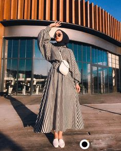 Image may contain: one or more people people standing stripes and outdoor – Hijab Fashion Hijab Fashion Summer, Modest Fashion Hijab, Hijab Style Dress, Modern Hijab Fashion, Hijab Look, Street Hijab Fashion, Hijab Fashion Inspiration, Abaya Fashion, Muslim Fashion