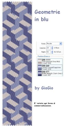 Geometrie in blu even count but knock off the left and it's easy enough Peyote Bracelet, Beaded Bracelet Patterns, Peyote Beading, Peyote Stitch Patterns, Bead Loom Patterns, Beading Patterns, Beaded Banners, Do It Yourself Jewelry, Tutorials