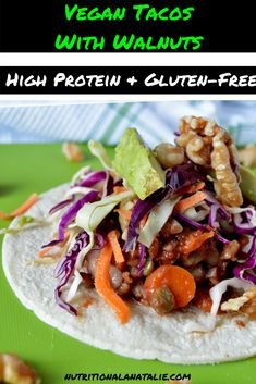 These Slow-Cooker Vegan Bean Tacos with Avocado and Walnut topping cook while you're at work! They are a healthy, filling and low calorie slow-cooker taco recipe without any meat! By Nutrition a la Natalie Vegetarian Tacos, Vegetarian Entrees, Vegan Dinners, Vegan Recipes Easy, Healthy Dinner Recipes, Whole Food Recipes, California Walnuts, Bean Tacos, Slow Cooker Tacos