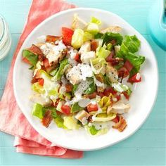 Bacon Chicken Chopped Salad Recipe from Taste of Home's Simple & Delicious Magazine Side Salad Recipes, Chopped Salad Recipes, Bacon Recipes, Cooking Recipes, Chopped Salads, Lettuce Recipes, Turkey Recipes, Beef Stroganoff Instant Pot Recipe, Stroganoff Recipe