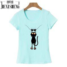 2017 Fashion kawaii T shirt Women Summer Tops Casual Cotton 3D Cat Print and Short Sleeve O-neck Plus Size Vogue tshirt