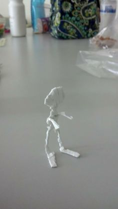 Reclaimed Office Supply Art- 'The Mummy' Made of paperclips and removable coverup tape.