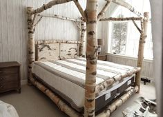 Rustic Four Poster Bed rustic oak four poster tree bed | tree bed, bedrooms and rustic
