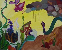 """""""Seven Deadly Strikes"""" by artist Maha Al Sahhaf; Oil on canvas, 60"""" x 48"""""""