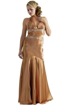 Gold Mermaid/Trumpet Halter Dropped Long/Floor-length Sleeveless Elastic Silk-like Satin Backless Prom Dresses Dress