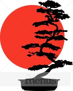 Two classic symbols of Japan have been artfully joined in this illustration. The red sun of the Japanese flag provides the backdrop for an elegant bonsai silhouette. Bonsai Tree Tattoos, Tree Clipart, Pine Tree Tattoo, Japanese Tattoo Art, Tree Logos, Art Japonais, Samurai Art, Tree Silhouette, Arte Pop