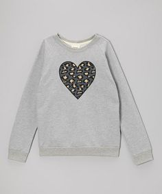 Love this Heather Gray Leopard Heart Pullover on #zulily! #zulilyfinds