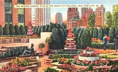 Nice colorful and collectible vintage scenic view of the Modern Garden, one of the popular Roof Gardens designed by Ralph Hancock at Rockefeller Center during the 1930s. Description from artfire.com. I searched for this on bing.com/images