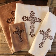 Cross Embroidered Towel Set