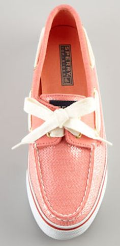 Sequined Sperry Top Siders in Coral - only $33!  http://rstyle.me/n/fnq64nyg6