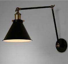 Edison Industrial Loft 2 Swing Arm Black Iron Wall Sconce Retro Ambient Lighting #haidy
