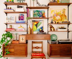 Justina Blakeney home The Jungalow vignette mid-century danish bookshelves on The Weekly The HighBoy.com