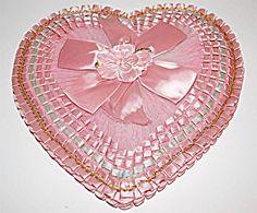 "Vintage Whitman Heart Valentine Candy Box PINK Pleated Satin Tulle Velvet 14"""