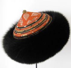 Model Tartar. Fur Hat inspired from the Silk Road.  Handmade by Jane Eberlein,Samarkand. Copenhagen Denmar.  www.samarkand.dk