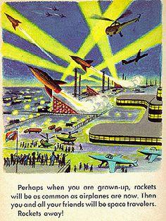 Exploring Space (1958) A Little Golden Book, imageby Tibor Gergely