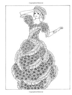 Dover Publications Creative Haven Flower Fashion Fantasies Coloring Book artwork by Ming-Ju Sun