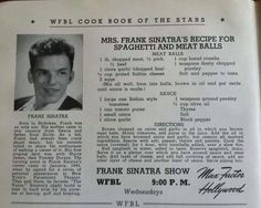 Mrs. Frank Sinatra's recipe for Spaghetti and Meat Balls