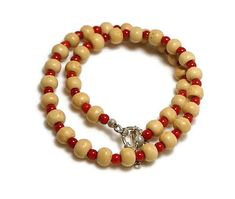Tulsi Bead Mala Holy Basil Bead Necklace Red Coral Beads