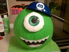 Pumpkin I decorated for Halloween contest - Mike from Monsters Inc