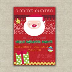 38 Best Invitations For An Ugly Christmas Sweater Party Images