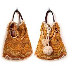 Plain or Pompom Ripple Bag Crochet  Pattern Jennifer Hansen, stitchdiva