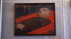 Kuzma Petrov-Vodkin's 'Beside Lenin's Coffin' (1924) shown in storage at the State Tretyakov Gallery, Moscow