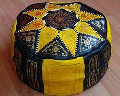 Oriental seat cushion Pouf floor Cushion stool Leather Pillow Ø 60 cm