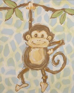 Safari Monkey Hand Painted Canvas - Sale Price $76.00