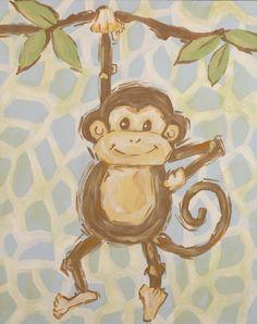 Safari Monkey Hand Painted Canvas - Sale Price $76.00