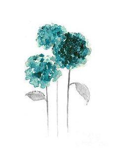 Hydrangea watercolor painting - blue hydrangea art print by joanna szmerdt Abstract Flowers, Watercolor Flowers, Watercolor Paintings, Hydrangea Painting, Blue Hydrangea, Blue Art, Flower Art, Fine Art America, Canvas Art