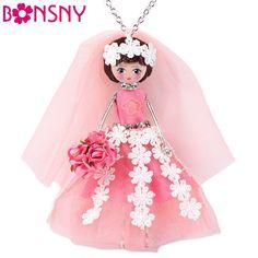 Bonsny Bridesmaid Dresses Doll Necklace Dress Handmade French Doll Pendant 2016 News Alloy Girl Women Flower Fashion Jewelry