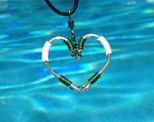 FISH HOOK HEART Necklace - Green and White on Silver Hooks