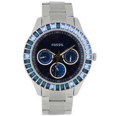 Fossil ES2958 Women's Stella Blue Baguette Crystals Stainless Steel Blue Dial Watch,