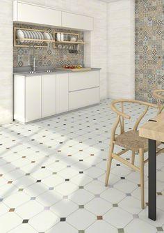Floor tiles range Vodevil in size, is a porcelain tile with like finish. White Kitchen Floor, Kitchen Tiles, Kitchen Flooring, Ceramic Flooring, Mainzu Ceramica, Küchen Design, Interior Design, House Design, Boho Deco
