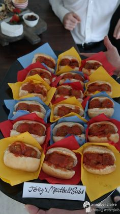 """Veggie meatball subs? Friends tv show themed themed food, Joey's meatball subs. From both Season 8 Episode 10 """"The One With Monica's Boots"""" and Season 5 Episode 20 """"The One With the Ride-Along"""" Friends Themed Wedding, Party Friends, Friends Show, Graduation Party Themes, 30th Birthday Parties, Birthday Party Themes, Birthday Ideas, 27th Birthday, Food Themes"""