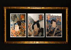 JAPANESE UTAGAWA KUNISIDA (1797-1861) VINTAGE TRIPTYCH WOODBLOCK SAMURAI PRINT  #UtagawaKunisadaToyokuni