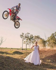 Fun Wedding Photography bride and groom motorbike shot