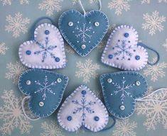 Feutrine Noël de coeur ornements ornements de flocon de neige
