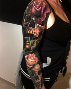 Whether you'd like to honor friendship, or show your affection or admiration, a rose tattoo can express right sentiment or emotion. Skull Rose Tattoos, Skull Sleeve Tattoos, Blue Rose Tattoos, Best Sleeve Tattoos, Colorful Rose Tattoos, Coloured Rose Tattoo, Rose Chest Tattoo, Rose Tattoo Thigh, Heather Moss