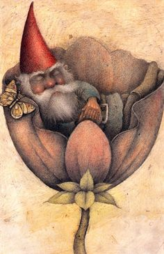 Gnomes never needs a snooze alarm. - Wayne Anderson illustration