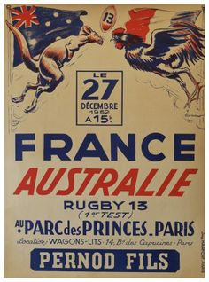 View this item and discover similar for sale at - Rare original vintage sport event poster advertising the rugby test game between France and Australia held at the Parc des Princes in Paris on 27 December Rugby Images, Rugby Pictures, Rugby Poster, Australia Rugby, Sports Advertising, Rugby Sport, Paris 3, Fc Liverpool, Rugby League