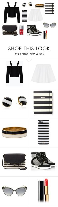Black meets White and a little Red by chanalieberman on Polyvore featuring Zara, RED Valentino, Jimmy Choo, Kate Spade, Chanel and Christian Dior