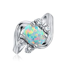 74df5c817dc1e .925 Silver Vintage Style Synthetic Opal CZ Oval Engagement Ring   Great to  have you