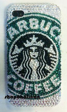 Something for the Ladies, Custom Starbucks Logo design Swarovski IPhone hard by Blythaholic