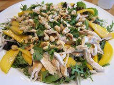love in spoonfuls: thai mango chicken salad with creamy peanut dressing.