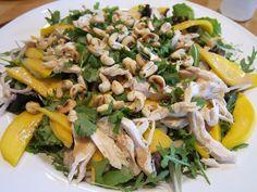 love in spoonfuls: thai mango chicken salad with creamy peanut dressing.