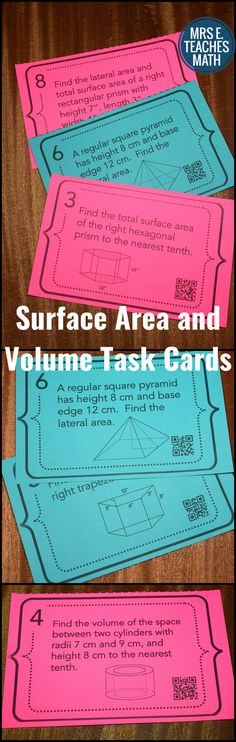 Surface Area and Volume Task Cards - great for a review game or to use throughout the unit as warmups. perfect for high school geometry.