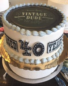 Vintage Inspired 40th Birthday Cake